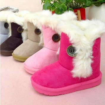 Girls' Winter Boots toddler snow cotton- warm size19-28