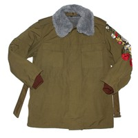 Vintage Military Parka Coat - Olive Green Rose Embroidered Parka 1of1 by American Anarchy Brand