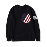 Moncler autumn and winter new flag element embroidery badge round neck sweater