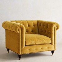 Velvet Lyre Chesterfield Armchair, Hickory by Anthropologie