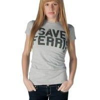 Ferris Bueller's Day Off Save Ferris Distressed Heather Gray Juniors T-shirt  - Ferris Bueller's Day Off - | TV Store Online