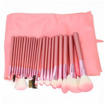 Science Purchase 22pcs Professional Cosmetic Makeup Brush Set with Pink Bag Pink
