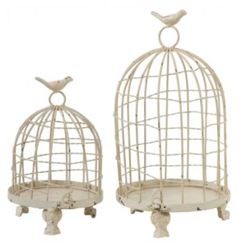 Set of 2 Vintage White Bird Lantern
