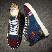 Christian Louboutin CL Louis Spikes Style #1898 Sneakers Fashion Shoes Best Deal Online
