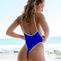 Sexy One Piece Swimsuit Women Swimwear Thong Swimsuit High Cut Backless Bathing Suits Swimming Suit