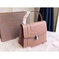 Bulgari leather women's square bag shoulder portable  Postman bag organ bag Pink