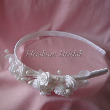 Headband, flower girl headband, flower headband, first communion headband