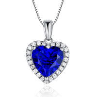 Sterling Silver Valentine 4ct Heart Shape Sapphire Pendant Necklace