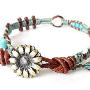 Beaded macrame charm bracelet with turquoise feather and selection of beads, UK jewellery for summer, unique gifts for best friend