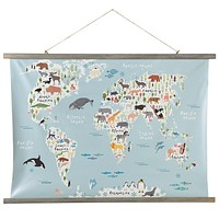 Animal World Map Rolled Canvas Wall Decor