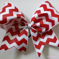 Red and white chevron ribbon cheer bow