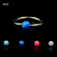 BOG-Opal Stone Nose Ring Septum Clicker Labret Lip Ring Ear Cartilage Trags Helix Piercing Body Jewelry 16g Captive Bead Ring