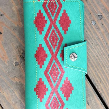 Turquoise & Red Navajo Inspired Womens Checkbook Wallet snap and zipper