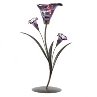 Glass Lily Tealight Candleholder