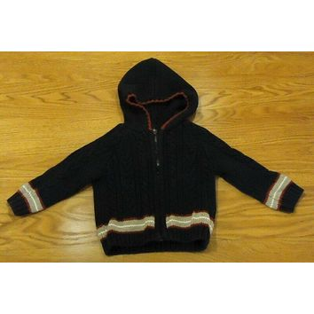 Dylan & Addy Hooded Sweater Boys 6-9M Infant Cotton Black Red White -- Used