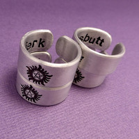 SHOP EXCLUSIVE - Supernatural Inspired - Anti-possession. Bitch, Jerk, Idjit, or Assbutt - CHOOSE 1 Double Sided Hand Stamped Aluminum Ring