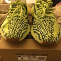 Adidas Yeezy Boost 350 v2 Semi Frozen Yellow Size 5 IN Hand 100% Authentic