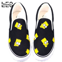 THE SIMPSONS HAND PRINTED SLIP ON CANVAS SNEAKER