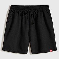 Fashion Casual Men Patched Drawstring Track Shorts