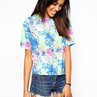 Glamorous Longline T-Shirt in Soft Floral Print