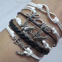 love each other deeply, For love of stay - antique silver bird,Infinity LOVE and anchor bracelet,wax rope and  Leather braided bracelet