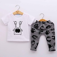 Summer Baby Clothing Sets Boy Cotton Cartoon Short Sleeve 2Pcs Baby Boy Clothes Set