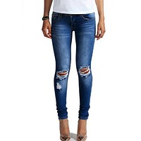 1884 New 2017 Hot Fashion Ladies Cotton Denim Pants Stretch Womens Bleach Ripped Knee Skinny Jeans Denim Jeans For Female-1