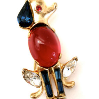 ON SALE Vintage Trifari Jelly Belly Puppy Brooch