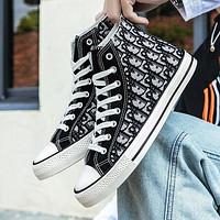 Dior New High Top Canvas Shoes Trendy All-match Student Tide Shoes Casual Cloth Shoes Boys And Girls Street Style Board Shoes-2