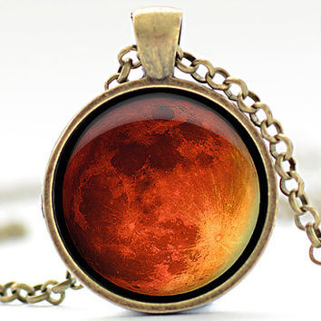 Moon Necklace, Science Jewelry, Geekery, Red Moon, Moon Pendant, Universe Jewelry, Moon Charm (378)