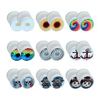 BodyJ4You Fake Plugs Gauges Earrings Illusion Cheater Jewelry 18 Pieces