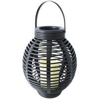 "North Point 12"" Rustic Resin Black Rattan Candle"