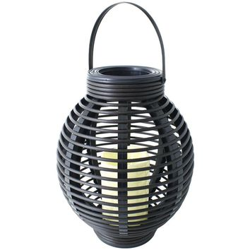 """North Point 12"""" Rustic Resin Black Rattan Candle"""