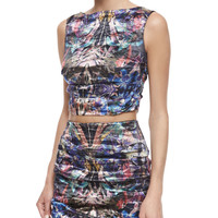 Sleeveless Floral-Print Crop Top, Multicolor, Size: