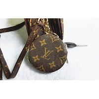 LV Louis Vuitton Fashion Print Leather Key Pouch Round Small Key Case Wallet Purse
