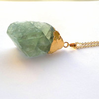 Fluorite Necklace Green Stone Necklace Rough Raw Crystal Pendant Fluorite Rough Big Green Stone Green Necklace Gold Dipped Fluorite Jewelry