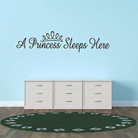 """Design with Vinyl Hope 21 A Princess Sleeps Here Teen Girl Baby Inspirational Quote Sign Banner Bumper Sticker Bedroom Kitchen Home Decor Picture Art Decals & Stickers, 10"""" x 20"""", Black"""
