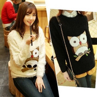 New winter sweater knitted Mohair Korean owl head dress = 1945767044