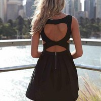 Black Heart Cutout Dress with Fitted Bodice & Pleated Skirt