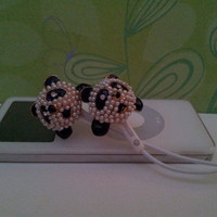 New Cute Panda Earbuds With  Crystal Eyes by HoneyBadgerBuds