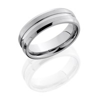 7mm wide tungsten carbide mens wedding band with one center groove with brushed finish and beveled edge