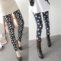 Warm Fleece Lined Print Leggings for Women Winter Black Milk Spandex Thermal Slim Pattern Leggins