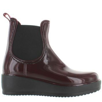 Kixters Jet - Burgundy Patent Pull-On Platform/Wedge Rubber Rain Boot