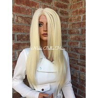 """Light Ash Blonde Straight Swiss lace front wig 26"""""""