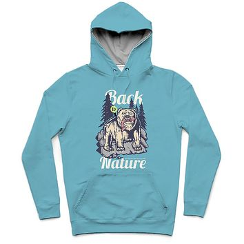 Back To Nature Trendy All-Over Print Solid Glacier Hoodie