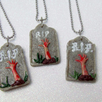 Polymer Clay Zombie Necklace - Zombies Rising from the Grave Necklace - Zombie Hand Tombstone Necklace - Bloody Hand Gravestone Necklace