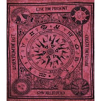 Zodiac Compass Burgundy Full Tapestry