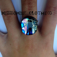 OOAK  Dichroic  glass  Ring  adjustable ring, silver plated ooak 1 available      rainbow