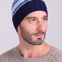 Blue Striped Knitted Beanie