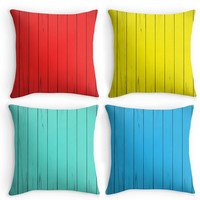 Throw Pillow, Colourful Summer House Decor, Beach Hut Scatter Cushion, 16x16, Cushion Cover